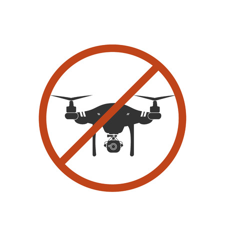 Drone Warning Icon Silhouette Prohibit Vector Design Illustration