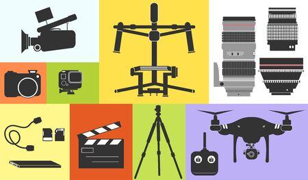 Silueta de la ilustración del icono Cine Video Foto Equipo Profesional Tecnología vectorial