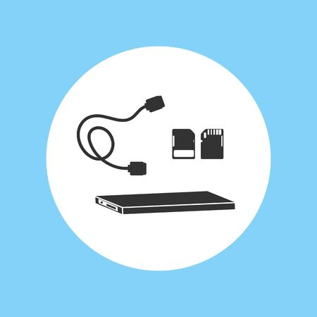 Silhouette Icon Hard Disk File Ssd Footage Equipment Vector Illustration