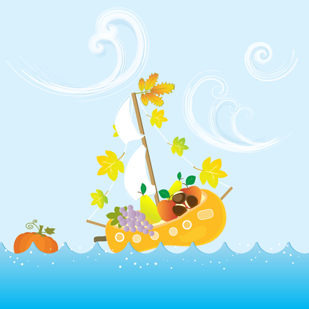 Cartoon Autumn Fall Colorful Fruit Boat Leaves Vector Illustration