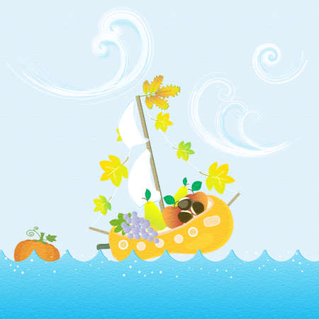 Autumn Fruit Boat Sailing Sea Seasonal Texture Vector Illustration
