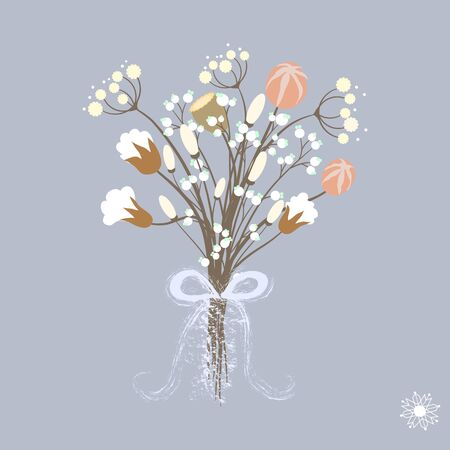 Vector illustration of beautiful winter bouquet flowers in pastel colors with ribbon