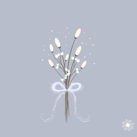 Sweet cartoon winter bouquette with white flowers snowflake ribbon Ilustracja