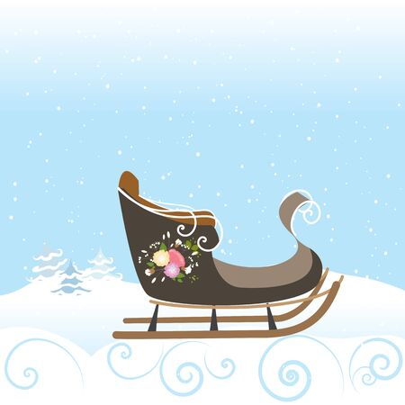 Winter Sled Flowers Vintage Snow Snowflake Vector Illustration