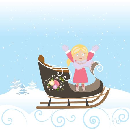 Sled Girl Child Smile Christmas