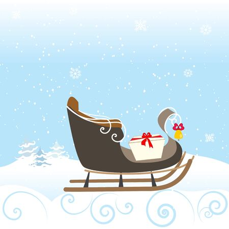 snow sled: Sled Snow Winter Bell Lovely Special Christimas Vector Illustration