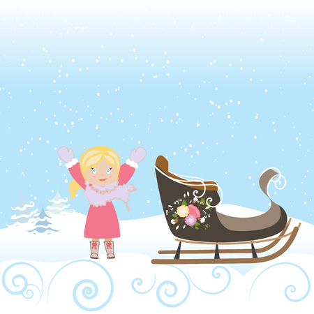 Happy Child Sled Winter Christmas Snowflake Old Vector Illustration Ilustracja