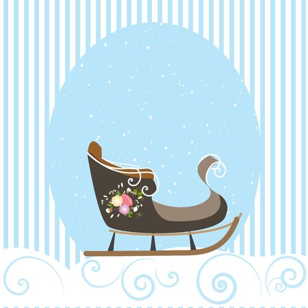 Christmas Card Beautiful Old Sled Snowflake Vector Illustration Ilustracja