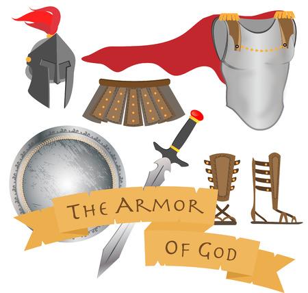 De wapenrusting van God Warrior Jezus Christus Heilige Geest Vector Illustration