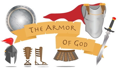 Rüstung Gott Christentum Krieger Christi Geist Zeichen Vektor-Illustration