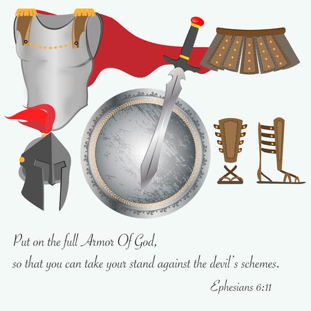Boží zbroj křesťanství Ježíš Bitva vektorové ilustrace