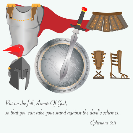 De wapenrusting van God het christendom Jezus Battle Vector Illustration
