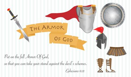 La Armadura de Dios Ilustración Cristianismo Jesucristo Biblia vectorial Foto de archivo - 49219923
