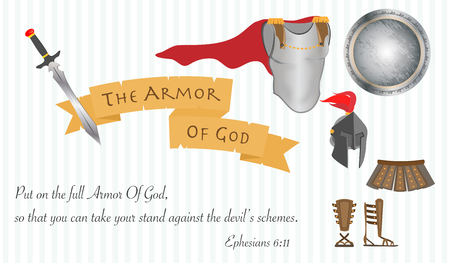 The Armor of God Christianity Jesus Christ Bible Vector Illustration Çizim