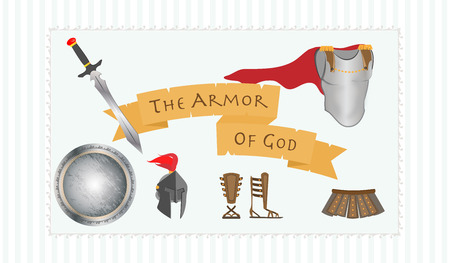 protestant: Armor of God Christianity Message Protestant Warrior Vector Illustration