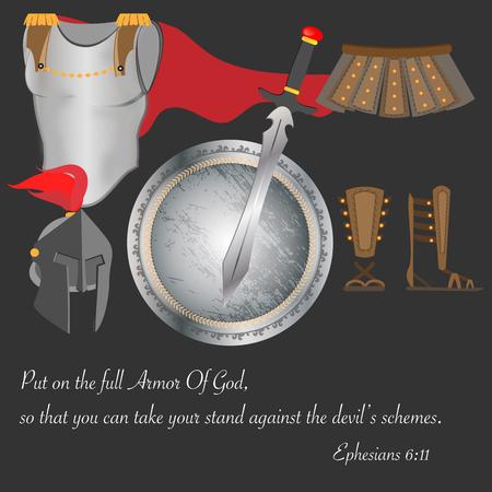 cristianismo: Armadura de Dios Cristianismo Guerrero Fe Valiente Ore Ilustraci�n Vector Vectores