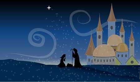 creche: Scene Jesus Nativity Baby Christian Holy Night Vector Illustration