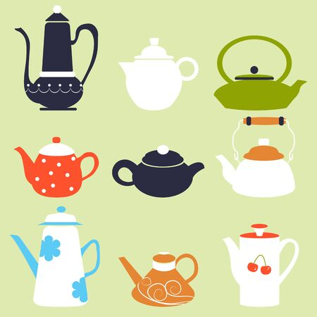 teapot: Tea Coffee Season Autumn Winter Kettle Breakfast Teapot Vector Illustration Stock Photo