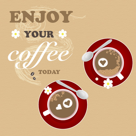 Coffee Flower Background Texture Romantic Love Paper Heart Ilustracja