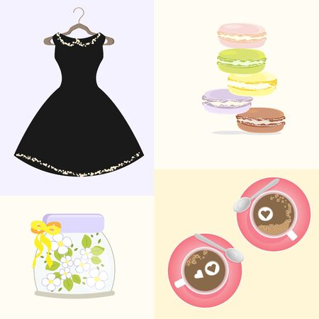 macaroon: French Macaroon Coffee Tasty Cappuccino Morning Dress Girl Flowers Illustration
