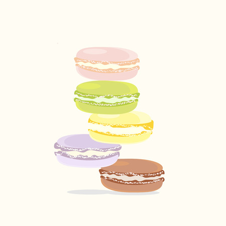 Background French Macaroon Dessert Green Pink Yellow Lilac Brown Illustration