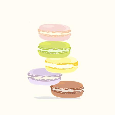 macaroon: Background French Macaroon Dessert Green Pink Yellow Lilac Brown Illustration