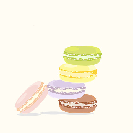 French Macaroon Dessert Tasty Colorful Cookie  Illustration