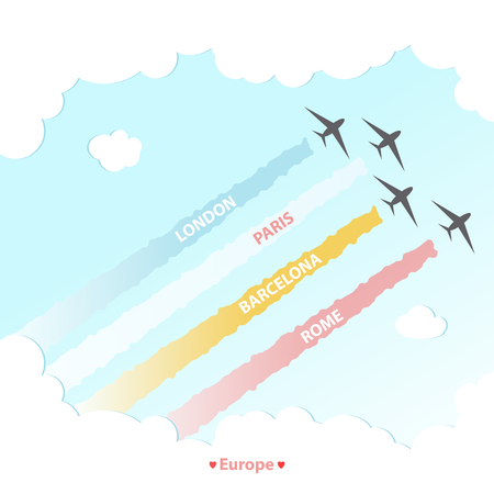 Travel Plane Country Design Tourism Europe Culture, Vacation Vector Illustration