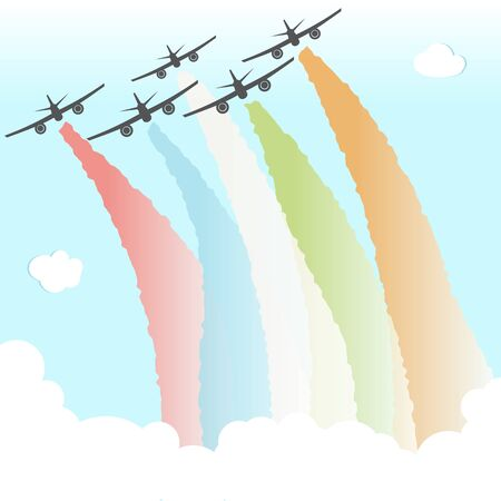 Colourful Joy Peace Plane Cloud Rainbow Design Vector Illustration
