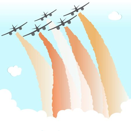 Smoke Color Sky Plane Parade Group Airplane Fly Peace  Vector Illustration