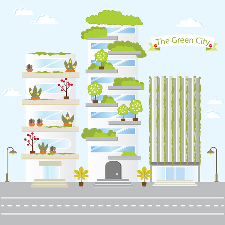 Eco Green City Future Building Design Life Nature Love Save Vector Illustration