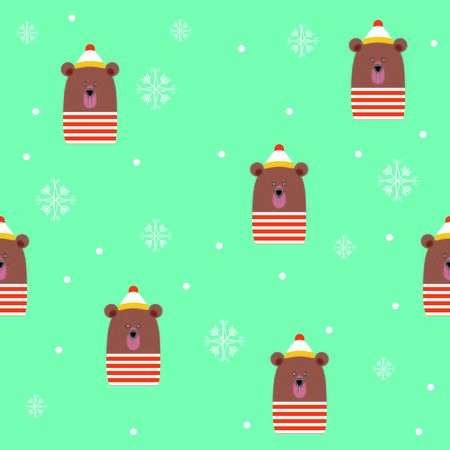 Cute Bear with Hat Scarf Winter Snowflakes Blue Seamless Pattern Vector Illustration