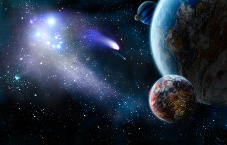 nebulous: The group of comets of space attacks peace planets.