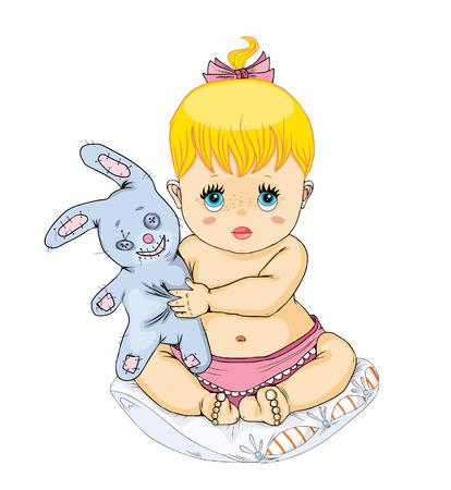 Das kleine Mädchen hält ein Spielzeug.