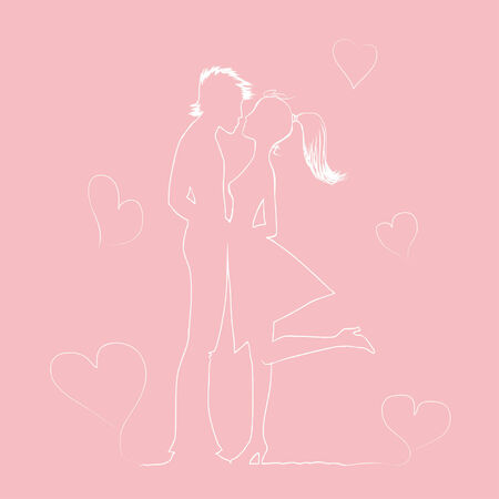 In love pair is kissed оn a holiday St Valentines Day. Vector