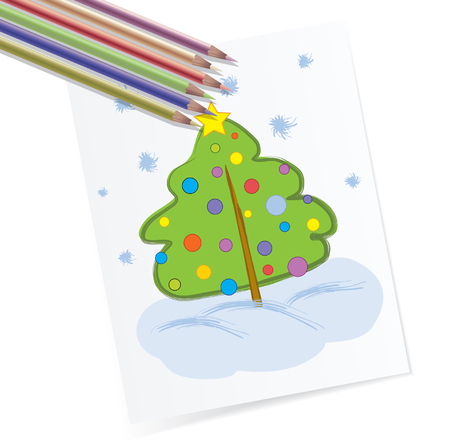 Kiddie style pencil drawing of a green winter fur-tree.  Vector