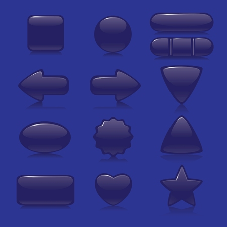 Dark blue glossy Web Buttons. Different form. Easy editing and colour change. Vector