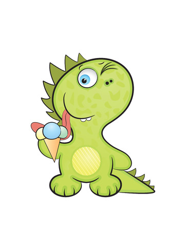 Cute cartoon style, the baby a dragon tries ice-cream. Vector