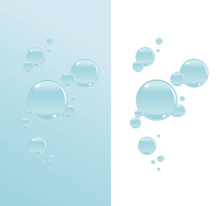 Transparent water bubbles on a two variations of background. Vector