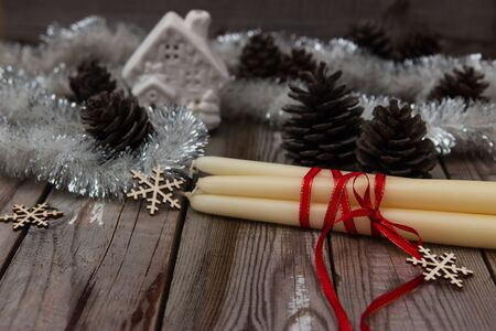 cosily: Rustic background with candles for christmas