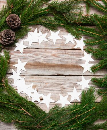 cosily: Beautiful christmas background with stars and fir branch.