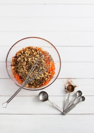 Preparing vegan lenten carrot cake dough concept Stock Photo
