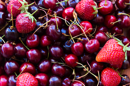 Fresh organic Cherry sweet and Strawberry for harmony slimness. Stock Photo