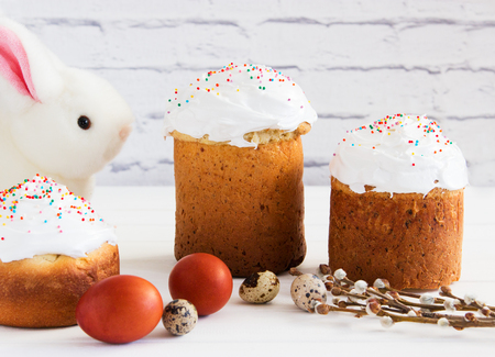 Russian traditional easter bread bunny spring background.