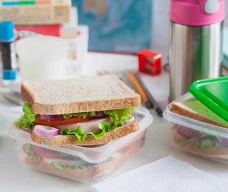 School breakfast apple fruit sandwich