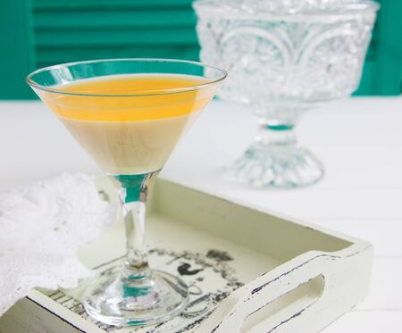 Domestic italian tangerine creamy dessert crystal dishes emerald.