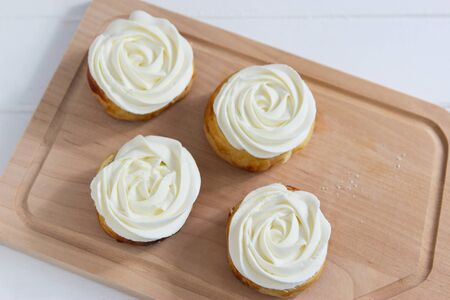 Four Fastelavn buns traditional sweet from Northern Europe