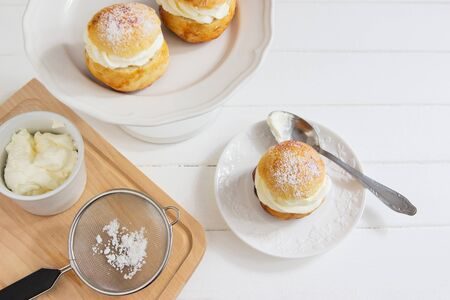Fastelavn shrove buns traditional carnival sweet from Northern Europe Reklamní fotografie