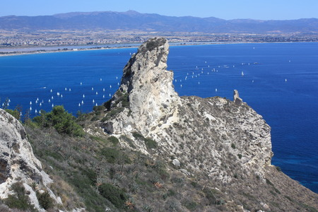 sella: View on the Golf of Cagliari and the beach il Poetto, Sardinia, Italy.