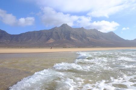 playa: Famous beach Cofete on Fuerteventura, Spain. Stock Photo